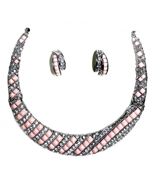Lemonade Pink resin Choker necklace and earrings with Rhinestone Crystals