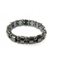 Half-cut Cylindrical and Spherical beaded Hematite stretchy bracelet