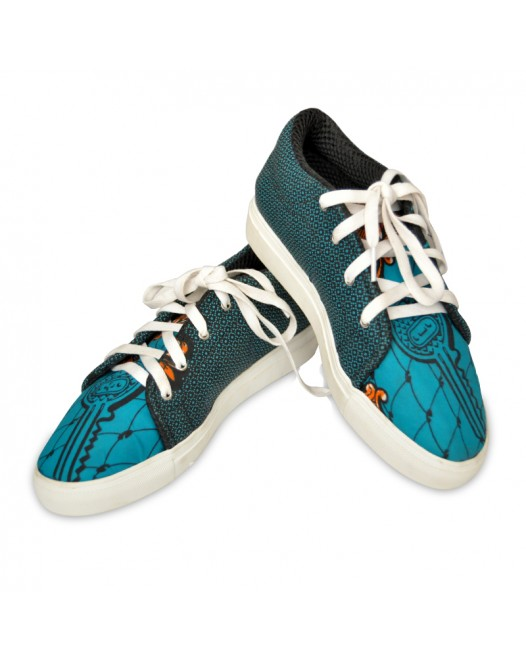 Womens Funky blue sneakers with handbag