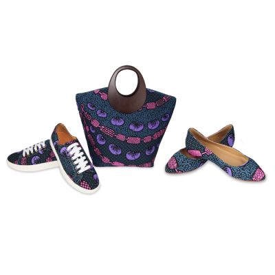 Stylish Navy blue Ankara Bags With the pair Set of Bellies and Sneakers