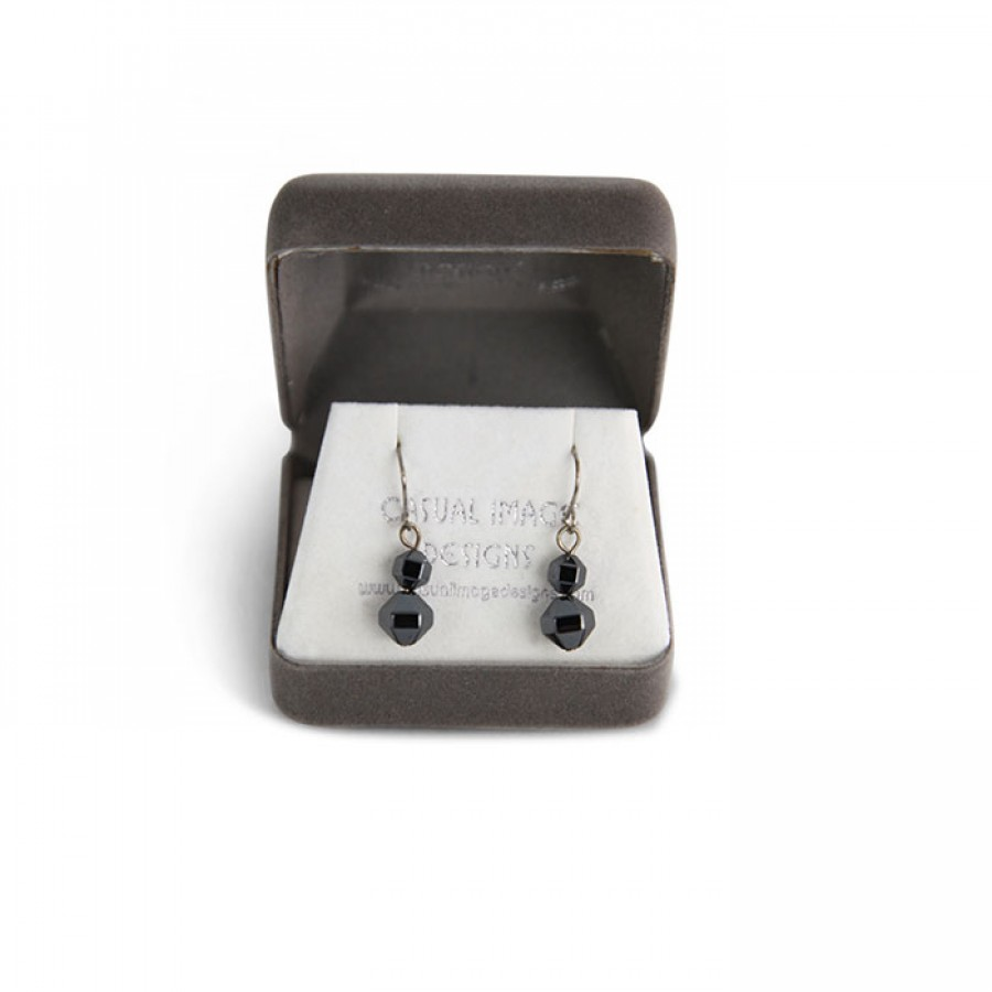 Beaded Simulated black Pearl Earring