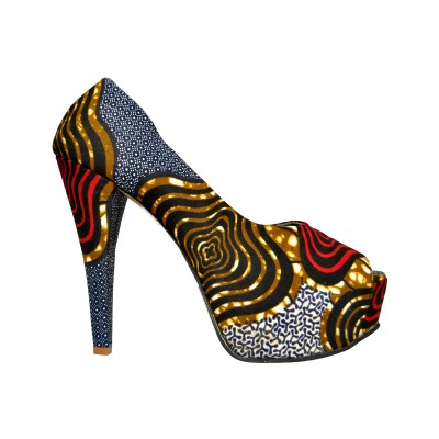 Women blue Peep toe mixed Funky design long heels