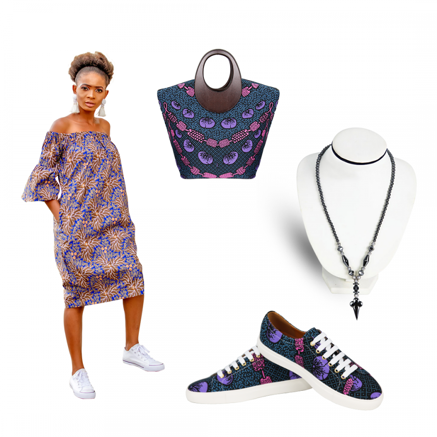 Women Rejoice - Get 5 & pay for 3 ( Ankara Flora Couture, Ankara Sneakers, Ankara patchwork raffia fibers handle bag, Women Wallet & Graduating hematite beaded necklace )
