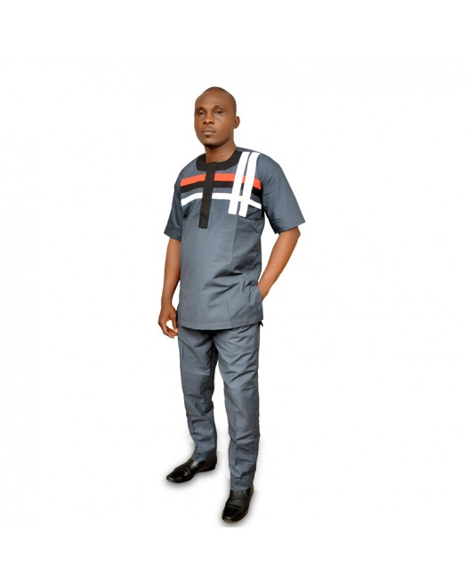 African mens designed casual dress set