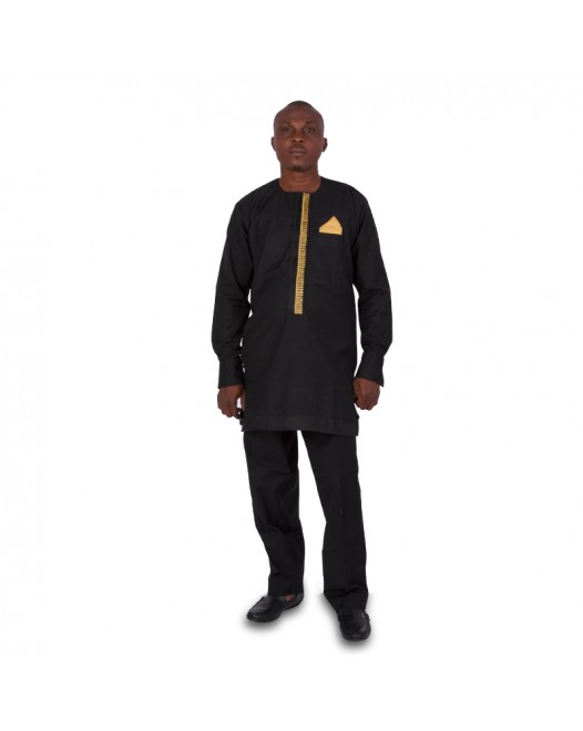 African Men's Black Dashiki full Set dress