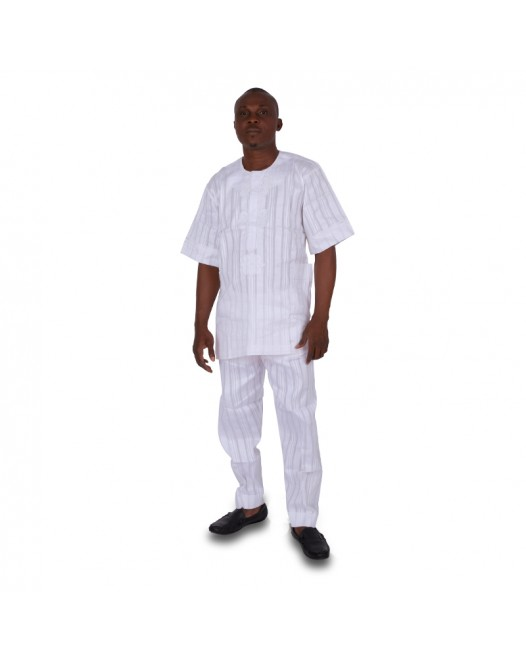 African Men's Full White Stripe Dashiki dress
