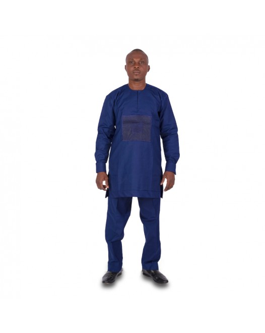 African Men's Full navy blue Stripe Dashiki dress