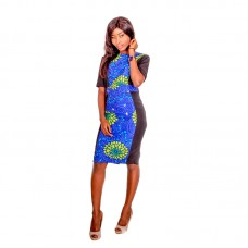 Women Printed Sleeve Pencil Dress With Stretch