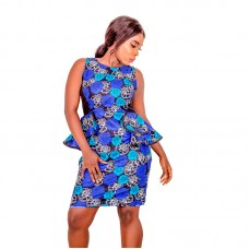 African Print Fitted Sleeveless Pencil Dress