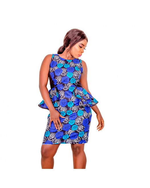 African Print Fitted Sleeveless Pencil Dress with Stretch