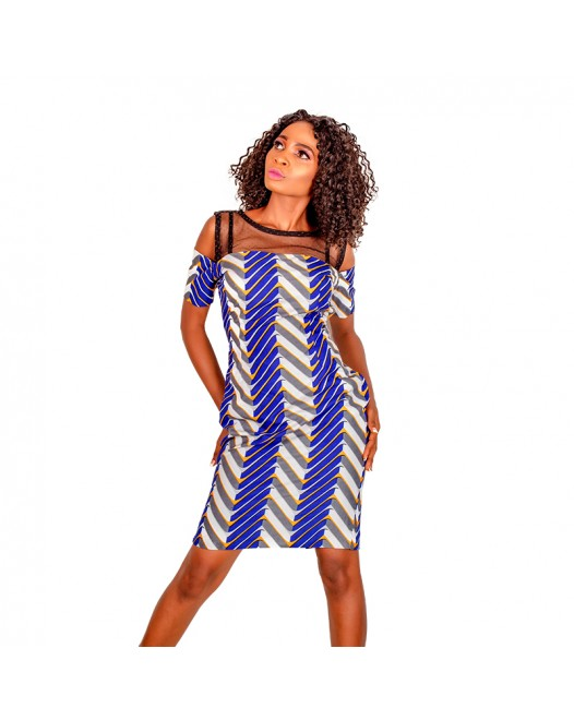 African Women floral ruffle with transparant boat neck design