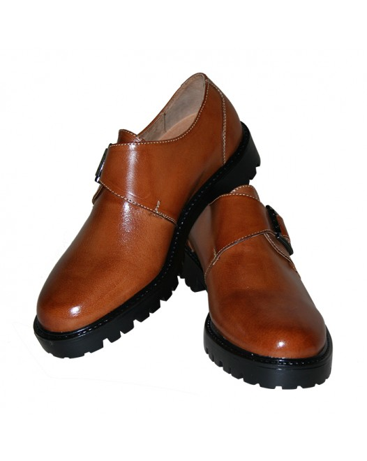 Men's Brown Monk strap Patent Leather  Shoes