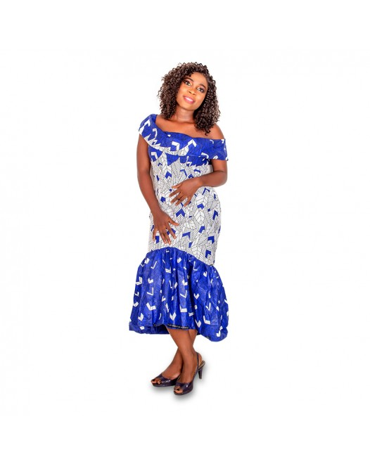 Women Floral Ruffle Dress with Set of Ankara shoes and Bag