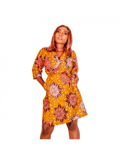 Women African Printed Ankara Wrap dress