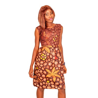 Women Sleeveless African Lace Bodycon dress