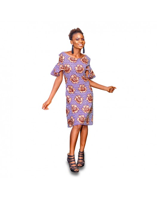 Women's African Floral Print Flower Patch Dress