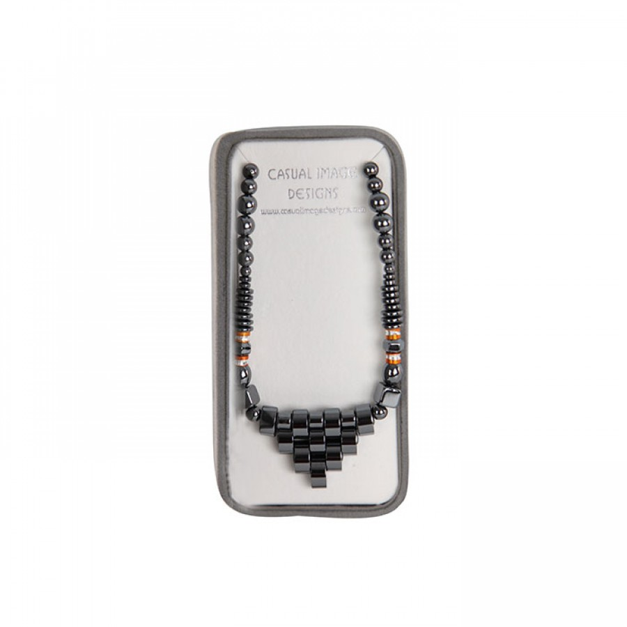 Women Trapezoid Hematite Fashion Necklace with Gift Box