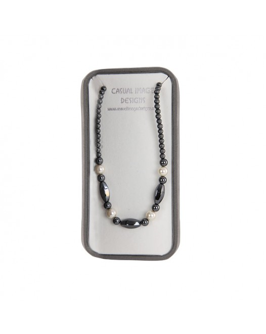 Women Magnetic Hematite Black Silver Round Beads Gem with Gift Box