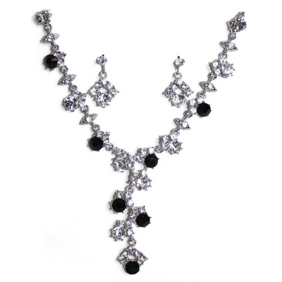 Handcraft Black Gemstones Silvered Created Emerald Necklace with crystal earring