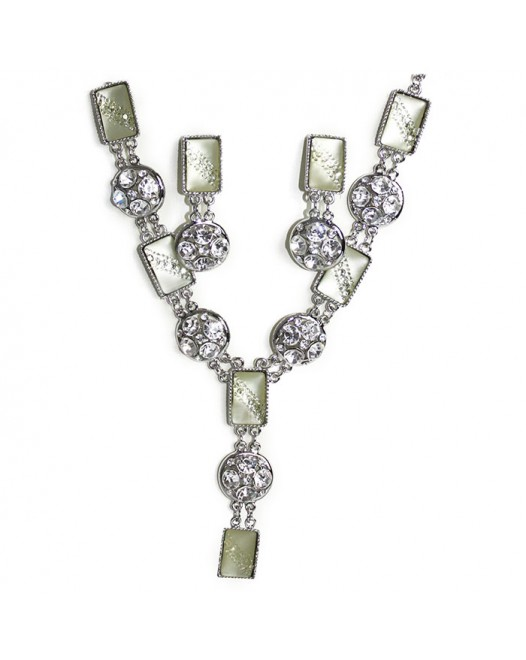 Green Shade Handcraft Gemstones Silvered Created Emerald Necklace