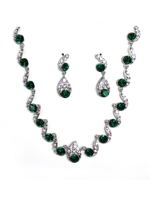 Green Gemstones Waved Crystallized Handcraft Necklace with Earring
