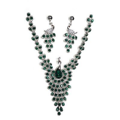 Peacock Designed Gemstones Waved Crystallized Handcraft Necklace with Earring