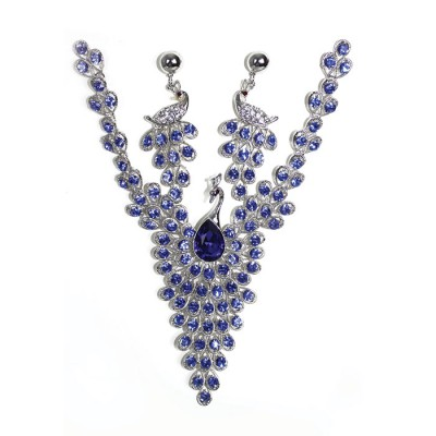 Gemstones Peacock Designed Crystallized Handcraft Necklace with Earring