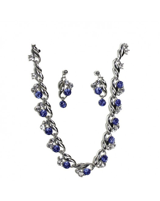 Handcraft Blue Silver Designed Gemstones Crystallized Necklace with Earring