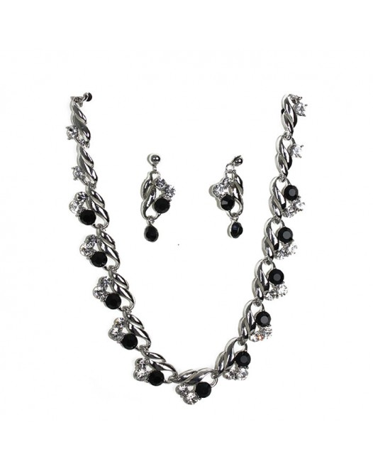 Black Minestone Craft Designed Gemstones Crystallized Necklace with Earring