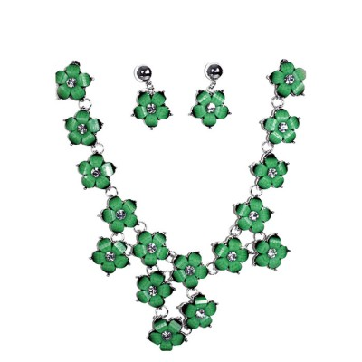 Floral Brooches Green Craft Gemstones Designed Necklace with Earring