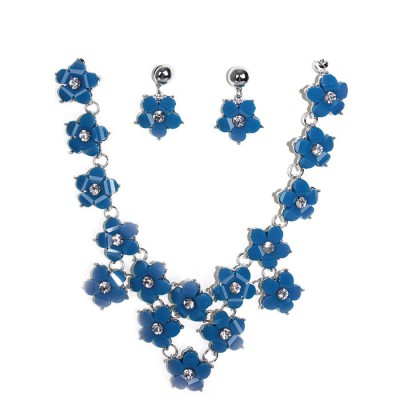 Floral brooches blue craft gemstones designed necklace with earrings