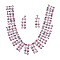 Square cut Silver Designed Gemstone crafted necklace with earring
