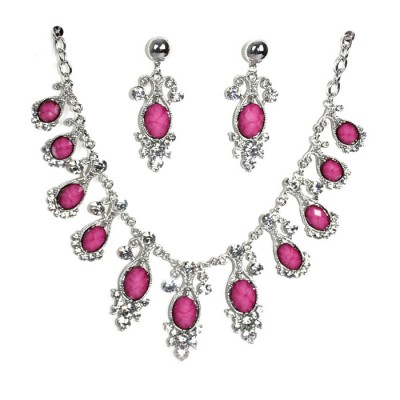 Bold Ovel Rose Craft Silver created necklaces with earrings
