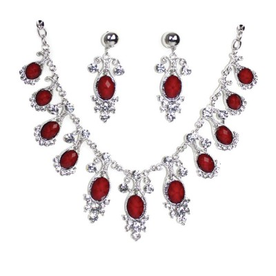 Maroon shaded Craft Bold Ovel Silver created necklaces with earrings