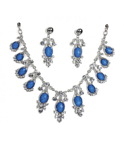 Blue shaded Craft Bold Ovel sliver gemstone necklaces with earrings