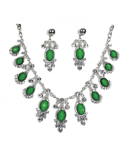 Green Craft Bold Ovel Silver created necklaces with earrings