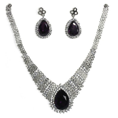 Dark Amethyst teardrop Sterling Silver necklace with teardrop earrings