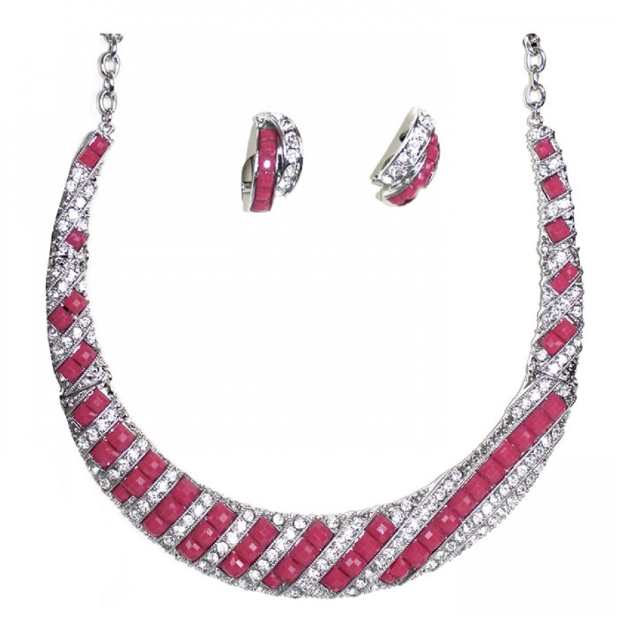 Fuschia resin Choker necklace and earrings with Crystal and resin Lattice