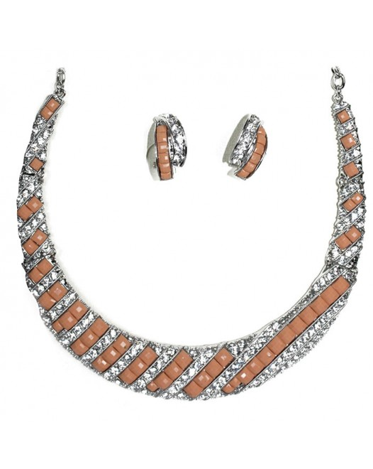 Cantaloupe resin Choker necklace and set earrings with Crystal Lattice.
