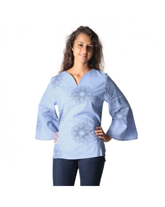 Vintage Cotton Blue Pajamas Tops for Women