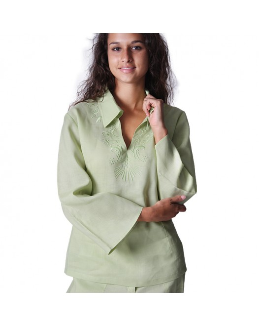 Vintage Cotton Light Green Pajamas Tops for Women