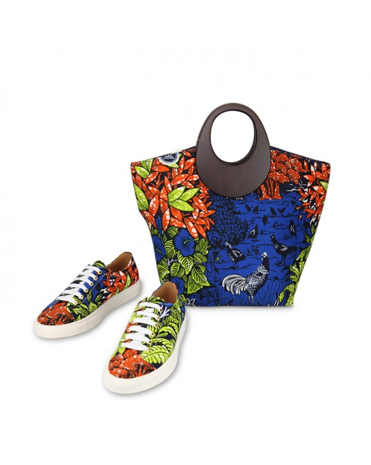 Women Stylish Ankara Bag Funky Multicolored Sneakers