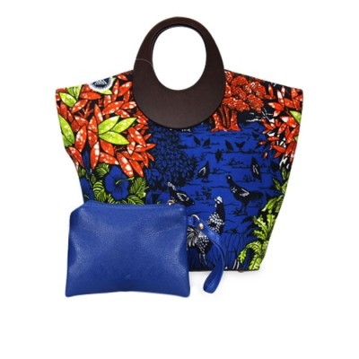 Women Stylish Ankara Bag Multicolored with stylish Flat shoe
