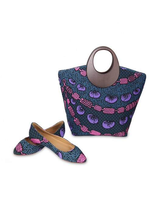 Women Stylish Navy blue Ankara Bag with Stylish Flat