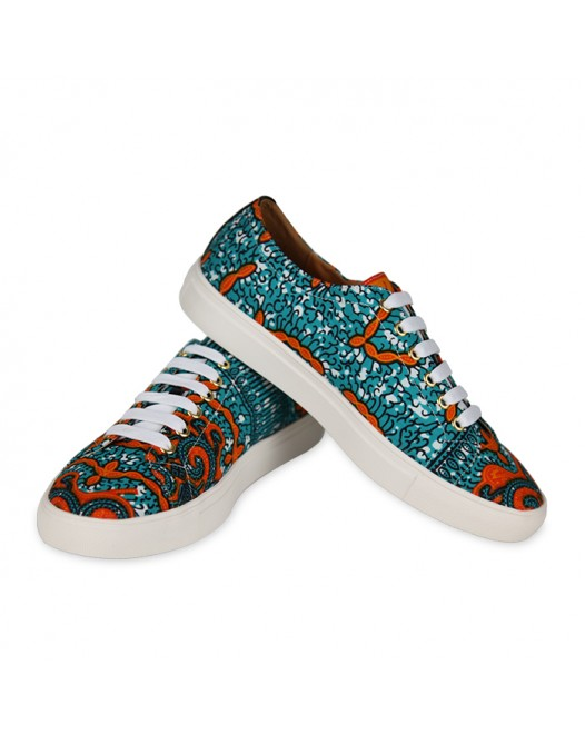 Stylish Men orange blue Funky Design Sneakers