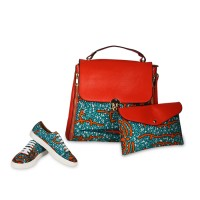 Women Stylish Ankara Shoulder Bag With Funky Blue Sneakers