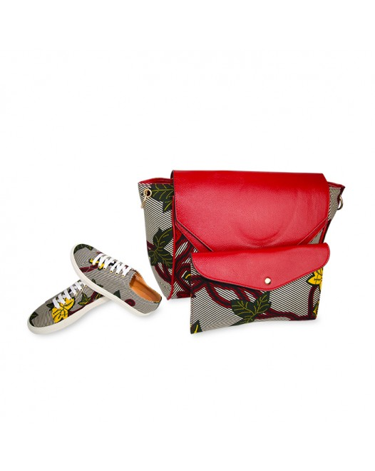 Women Stylish Ankara Shoulder Bag With Funky Design Sneakers