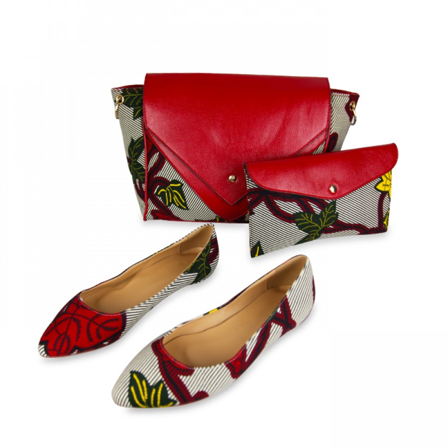 Stylish Chain type Ankara Shoulder Bag With the pair Set of Bellies and Sneakers
