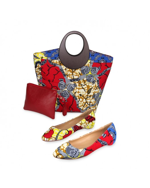 Women Stylish Multicolor Funky Design Ankara Bag with Stylish Bellies
