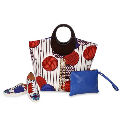 Women Stylish Diamond design patch Ankara Bag with Stylish Sneakers